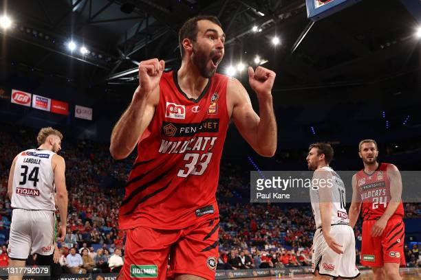 John Mooney of the Wildcats reacts after being called for a foul on Jock Landale of Melbourne United during the round 18 NBL match between the Perth...