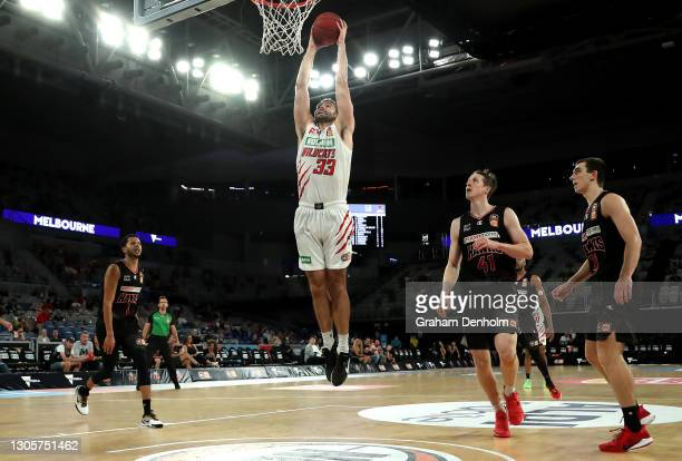 John Mooney of the Wildcats shoots during the NBL Cup match between the Illawarra Hawks and the Perth Wildcats at John Cain Arena on March 07 in...