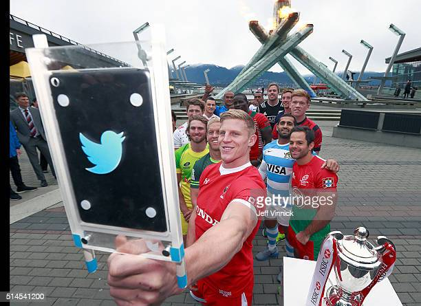 John Moonlight captain of the Canadian Sevens rugby team takes a group photo of the remaining 15 captains of the Rugby Sevens tournament teams in...