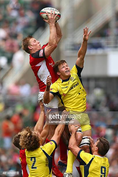 John Moonlight of Canada contests a lineout with Cameron Clark of Australia during the Cup quarterfinal match between Australia and Canada during the...