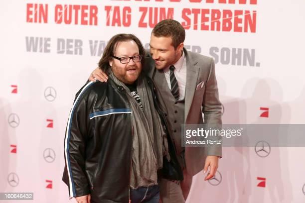 John Moore and Jai Courtney attend 'Die Hard - Ein Guter Tag Zum Sterben' Germany Premiere at Cinestar Potsdamer Platz on February 4, 2013 in Berlin,...