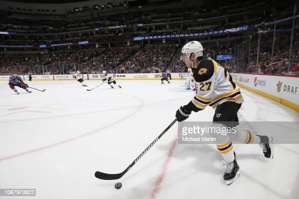 John Moore of the Boston Bruins skates against the Colorado Avalanche at the Pepsi Center on November 14 2018 in Denver Colorado The Avalanche...