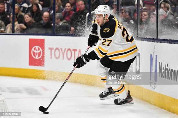 John Moore of the Boston Bruins skates against the Columbus Blue Jackets on January 14 2020 at Nationwide Arena in Columbus Ohio Columbus shut out...
