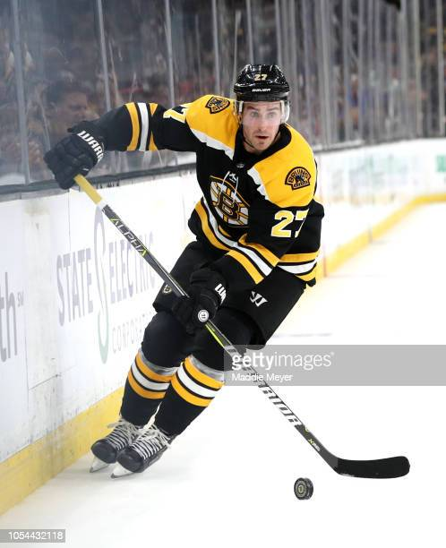 John Moore of the Boston Bruins skates against the Montreal Canadiens during the first period at TD Garden on October 27 2018 in Boston Massachusetts