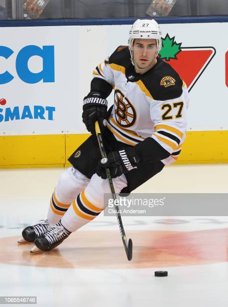 John Moore of the Boston Bruins skates during the warmup prior to action against the Toronto Maple Leafs in an NHL game at Scotiabank Arena on...