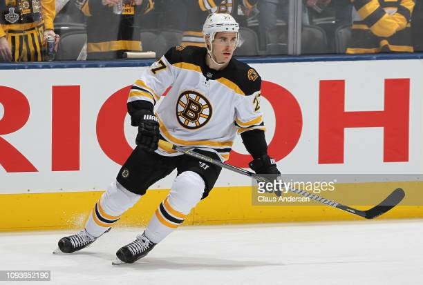John Moore of the Boston Bruins skates during the warm-up prior to action against the Toronto Maple Leafs in an NHL game at Scotiabank Arena on...