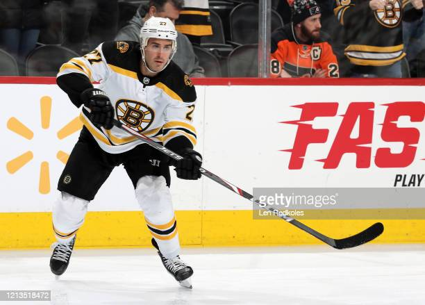 John Moore of the Boston Bruins warms up against the Philadelphia Flyers on March 10 2020 at the Wells Fargo Center in Philadelphia Pennsylvania
