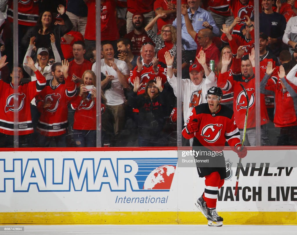 John Moore #2 of the New Jersey Devils celebrates his shorthanded goal at 14:00 of the third period against the Colorado Avalanche at the Prudential Center on October 7, 2017 in Newark, New Jersey. The Devils defeated the Avalanche 4-1.