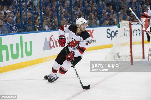 John Moore of the New Jersey Devils in Game Five of the Eastern Conference First Round during the 2018 NHL Stanley Cup Playoffs at Amalie Arena on...