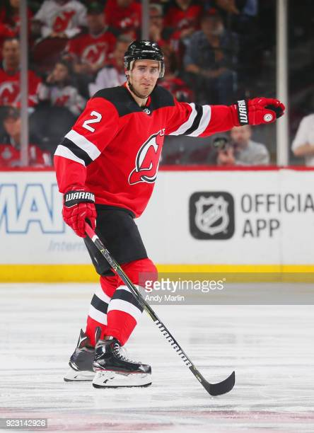 John Moore of the New Jersey Devils skates against the Columbus Blue Jackets during the game at Prudential Center on February 20 2018 in Newark New...