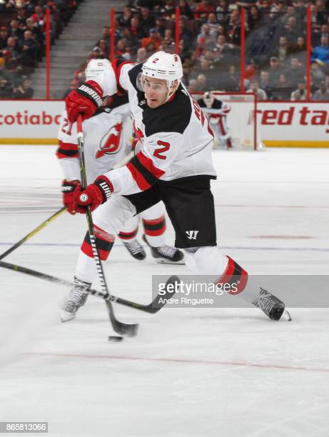 John Moore of the New Jersey Devils skates against the Ottawa Senators at Canadian Tire Centre on October 19 2017 in Ottawa Ontario Canada
