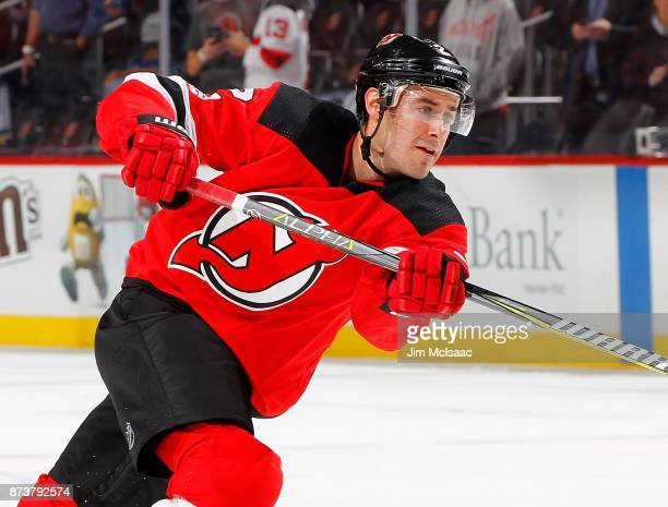 John Moore of the New Jersey Devils warms up before a game against the St Louis Blues on November 7 2017 at Prudential Center in Newark New Jersey...