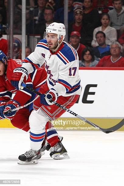 John Moore of the New York Rangers skates against the Montreal Canadiens in Game Two of the Eastern Conference Finals of the 2014 NHL Stanley Cup...