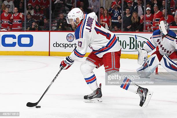 John Moore of the New York Rangers skates with the puck against the Montreal Canadiens in Game Two of the Eastern Conference Finals of the 2014 NHL...