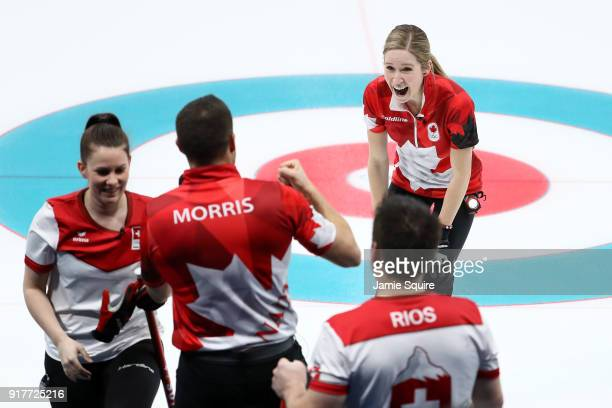 John Morris and Kaitlyn Lawes of Canada celebrate defeating Jenny Perret and Martin Rios Switzerland to win the gold medal during the Curling Mixed...