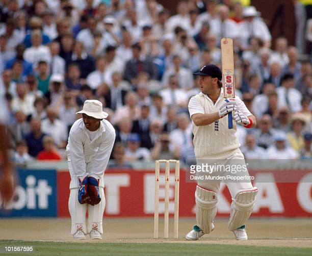 John Morris batting for England on the second day of the 2nd Test match between England and India at Old Trafford in Manchester 10th August 1990 The...