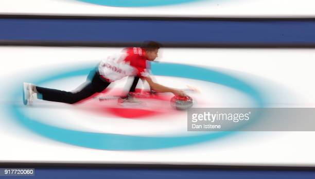 John Morris of Canada delivers a stone against Switzerland during the Curling Mixed Doubles Gold Medal Game on day four of the PyeongChang 2018...