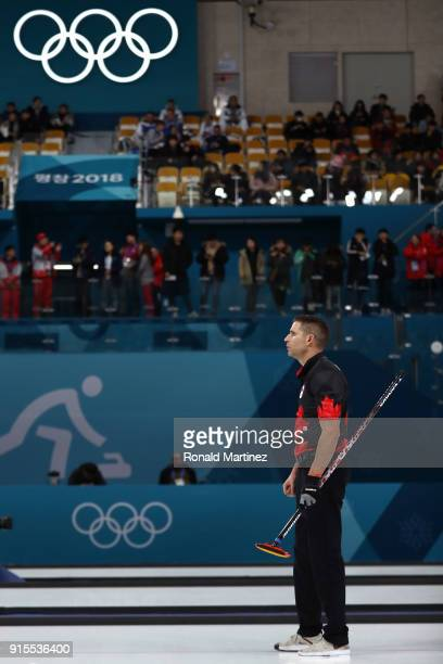 John Morris of Canada looks on against Norway in the Curling Mixed Doubles Round Robin Session 1 during the PyeongChang 2018 Winter Olympic Games at...