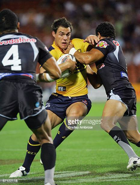 John Morris of the Eels in action during the round two NRL match between the Warriors and the Parramatta Eels at Waikato Stadium March 18 2006 in...