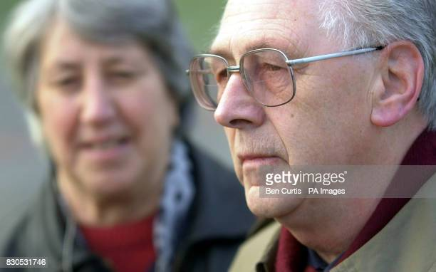 John Mosey who lost his 19yearold daughter Helga in the bombing of Pan Am flight 103 over Lockerbie in 1988 stands outside the court accompanied by...