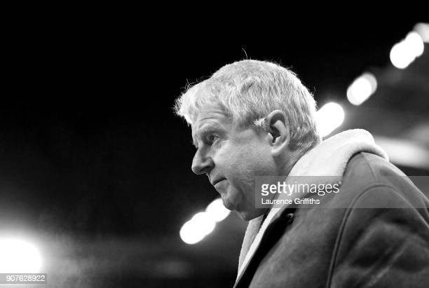John Motson is seen during the Premier League match between Leicester City and Watford at The King Power Stadium on January 20 2018 in Leicester...