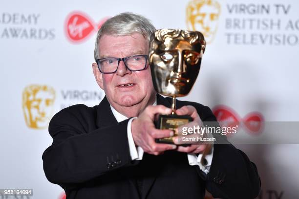 John Motson poses with his Special Award in the press room during the Virgin TV British Academy Television Awards at The Royal Festival Hall on May...