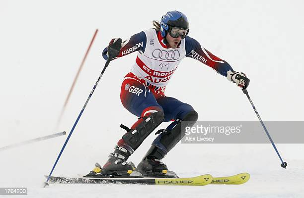 John MoulderBrown of Great Bitain in action during the Slalom race in the Men's Combined event at the FIS Alpine World Ski Championships held at St...