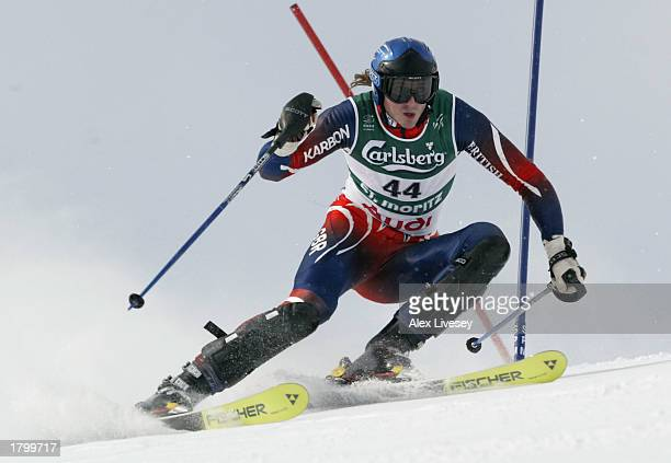 John MoulderBrown of Great Britain during his first run in the Men's Slalom race at the FIS Alpine World Ski Championships held at St Moritz in...