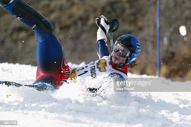 John MoulderBrown of Great Britian falls during the first run of the men's FIS Ski World Cup Slalom at Park City Ski Resort on November 24 2002 in...