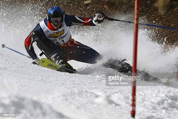 John MoulderBrown of the USA competes during the first run of the men's FIS Ski World Cup Slalom at Park City Ski Resort on November 24 2002 in Park...