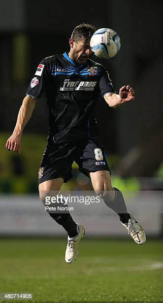 John Mousinho of Stevenage in action during the Sky Bet League One match between Coventry City and Stevenage at Sixfields Stadium on March 26 2014 in...