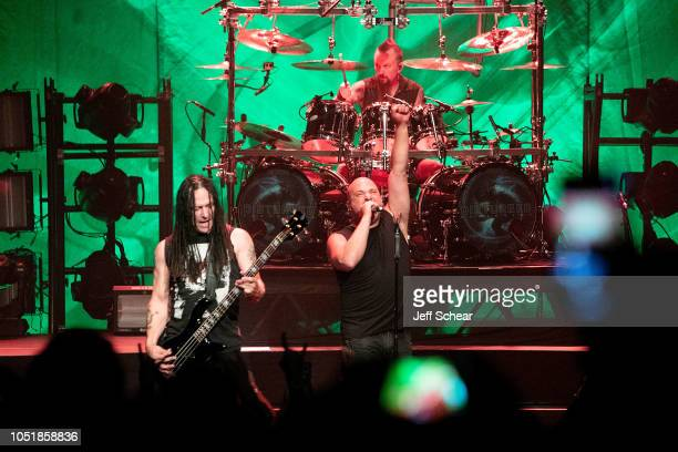 John Moyer and David Draiman of Disturbed peform at SiriusXM Presents Disturbed Live From The Vic Theatre In Chicago on October 10 2018 in Chicago...