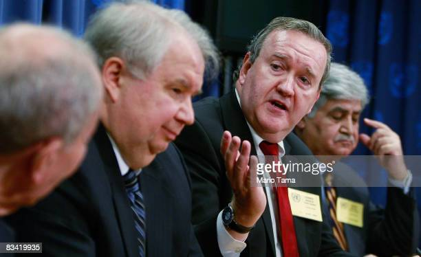John Mroz President of the EastWest Institute speaks as Sergey Kislyak Russian Ambassador to the United States and Ved Malik Former Chief of Army...