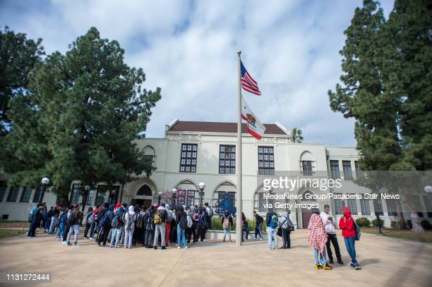 John Muir High School students walkout to protest the schoolÕs ban on durags on Wednesday February 20 2019 Black Student Union students say the...