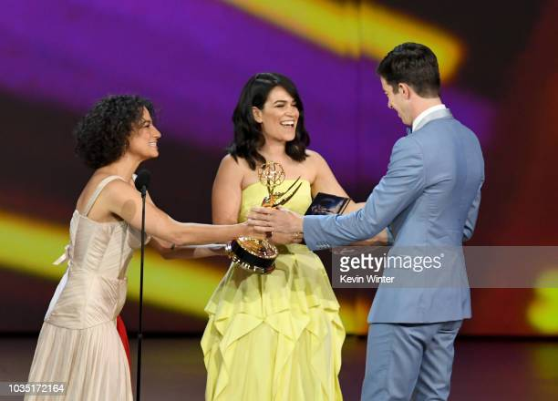 John Mulaney accepts the Outstanding Writing for a Variety Special award for 'John Mulaney Kid Gorgeous at Radio City' from Ilana Glazer and Abbi...