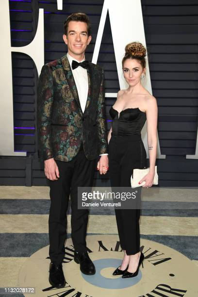 John Mulaney and Annamarie Tendler attend 2019 Vanity Fair Oscar Party Hosted By Radhika Jones at Wallis Annenberg Center for the Performing Arts on...
