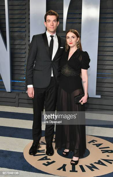 John Mulaney and Annamarie Tendler attend the 2018 Vanity Fair Oscar Party hosted by Radhika Jones at Wallis Annenberg Center for the Performing Arts...
