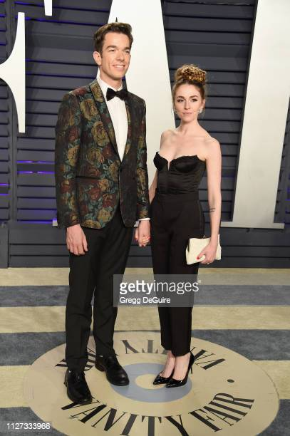 John Mulaney and Annamarie Tendler attend the 2019 Vanity Fair Oscar Party hosted by Radhika Jones at Wallis Annenberg Center for the Performing Arts...