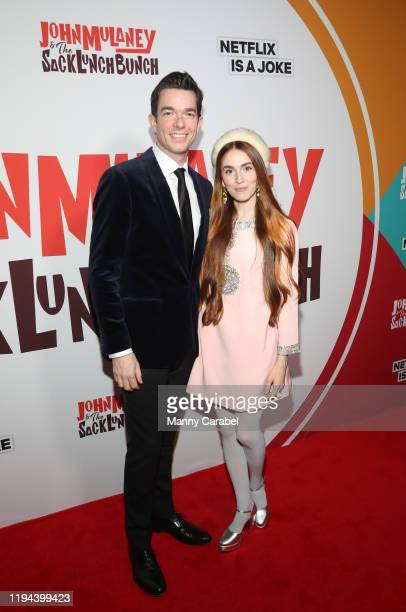 John Mulaney and Annamarie Tendler attend the John Mulaney The Sack Lunch Bunch NY Special Screening at Metrograph on December 16 2019 in New York...