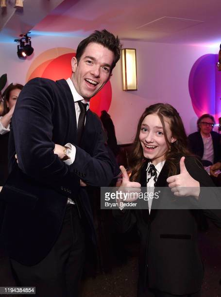 John Mulaney and Ava Briglia attend the John Mulaney The Sack Lunch Bunch NY Special Screening at The Metrograph on December 16 2019 in New York City