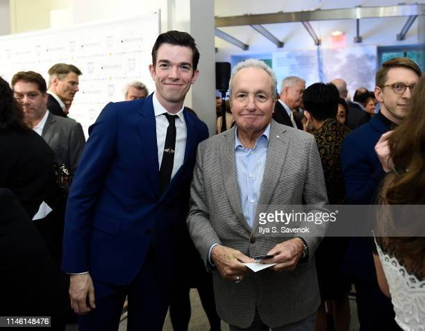 John Mulaney and Lorne Michaels attends NRDC's Night of Comedy Benefit in partnership with Discovery Inc hosted by Seth Meyers on April 30 2019 in...