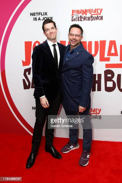 John Mulaney and Nick Kroll at the John Mulaney The Sack Lunch Bunch New York Premiere at Metrograph on December 16 2019 in New York City