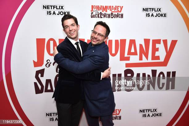 John Mulaney and Nick Kroll attend the John Mulaney The Sack Lunch Bunch NY Special Screening at The Metrograph on December 16 2019 in New York City