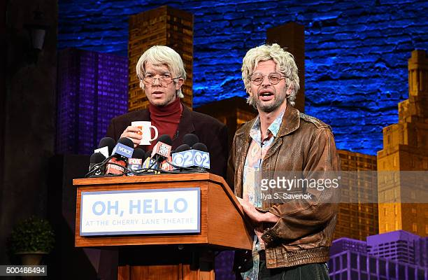 John Mulaney and Nick Kroll conduct interviews in character during Oh Hello Broadway Press Conference at Cherry Lane Theatre on December 8 2015 in...