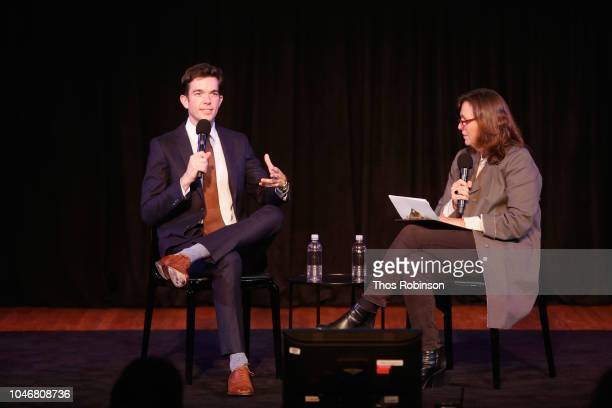 John Mulaney and Susan Morris speak on stage during the 2018 New Yorker Festival on October 6 2018 in New York City