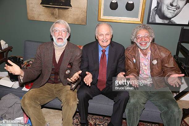 John Mulaney as 'George St Geegland Special Guest Alan Alda and Nick Kroll as 'Gil Faizon' pose backstage on The Opening Night of 'Oh Hello On...