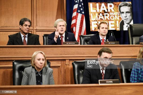 LIVE John Mulaney Episode 1760 Pictured Alex Moffat as Mark Meadows and Kyle Mooney as Paul Gosar during the Michael Cohen Hearing Cold Open on...