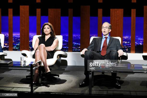 LIVE John Mulaney Episode 1760 Pictured Cecily Strong as Jeanine Pirro and host John Mulaney as Alan Dershowitz during the Legal Shark Tank sketch on...