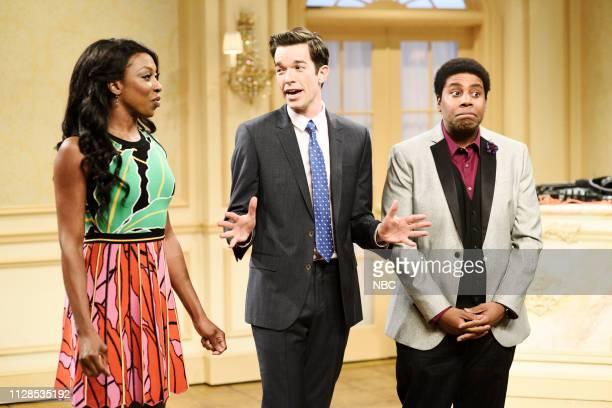 LIVE 'John Mulaney' Episode 1760 Pictured Ego Nwodim as Lisa host John Mulaney as Daniel and Kenan Thompson as the DJ during the 'Cha Cha Slide'...