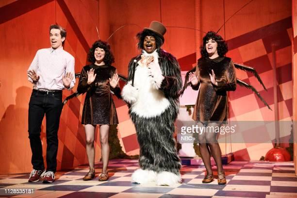 LIVE 'John Mulaney' Episode 1760 Pictured Host John Mulaney as the Bodega Man Melissa Villaseñor Kenan Thompson as the Bodega Cat and Cecily Strong...